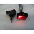 RECTANGULAR ROCKER SWITCH. 12 VOLT. RED FULL COLOUR FACE