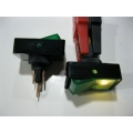 RECTANGULAR ROCKER SWITCH. 12 VOLT. GREEN FULL COLOUR FACE