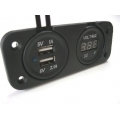 USB DUAL SOCKET + VOLT METER PANEL MOUNT WITH FACE PLATE