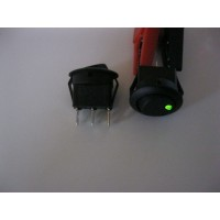 ROUND ROCKER SWITCH- ILLUMINATED GREEN