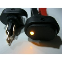 OVAL ROCKER SWITCH 12 VOLT. ILLUMINATED YELLOW