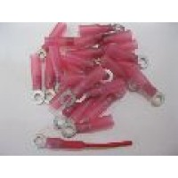 4MM RED RING TERMINAL HS 25PCS