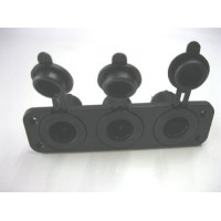 FEMALE CIG SOCKET X 3 PANEL MOUNT WITH FACE PLATE