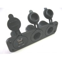 FEMALE CIG SOCKET X 2 +USB PANEL MOUNT WITH FACE PLATE