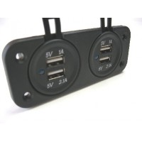 USB DUAL SOCKET + USB DUAL SOCKET  PANEL MOUNT WITH FACE PLATE